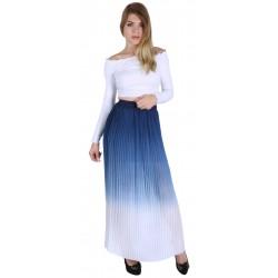 ASOS Niebiesko-kremowa plisowana spódnica maxi