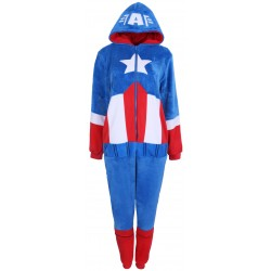 Biało-czerwono-niebieska piżama jednoczęściowa Kapitan Ameryka Marvel