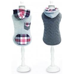 Szara, dwustronna bluza w kratkę dla psa 35 cm