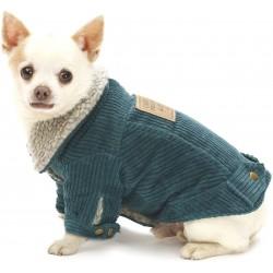 Ciemnoturkusowa, sztruksowa kurtka dla psa
