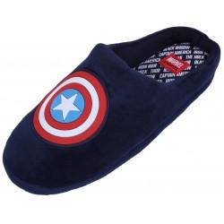 Granatowe, męskie papcie z gumowym nadrukiem marki Marvel.