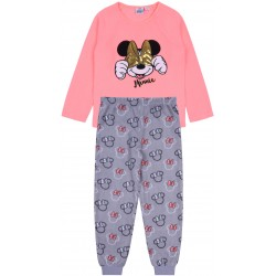 Piżama Myszka Minnie z neonową bluzką i cekinami oraz szarymi spodniami