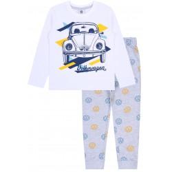 Biało-szara piżama chłopięca z długim rękawem Volkswagen