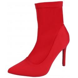 Czerwone, skarpetkowe, damskie botki na szpilce