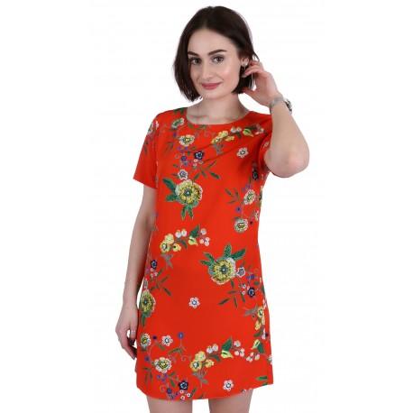 ASOS Pomarańczowa sukienka mini szyfon w kwiaty