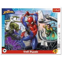 Puzzle ramkowe 25 elementów - Odważny Spiderman MARVEL TREFL
