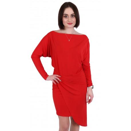 John Zack Women Elegant Assymetric Red Cocktail Midi Dress