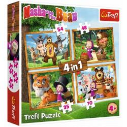 Puzzle 4w1-Leśne przygody Maszy TREFL