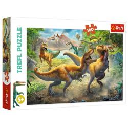 Puzzle 160 elementów-Walczące tyranozaury TREFL