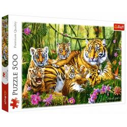 Puzzle 500 elementów-Rodzina tygrysów TREFL