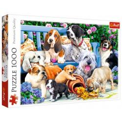 Puzzle 1000 elementów-Psy w ogrodzie TREFL