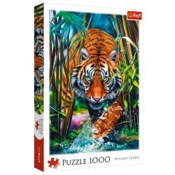 Puzzle 1000 elementów-Drapieżny tygrys TREFL