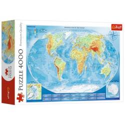 Puzzle 4000 elementów-Wielka mapa fizyczna świata TREFL