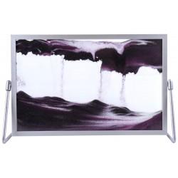 Obraz w formacie 19×30 cm, oprawiony w ramę aluminiową z podstawką metalową z fioletowym piaskiem
