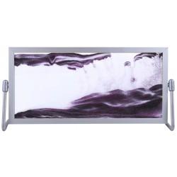 Obraz w formacie 14×29 cm, oprawiony w ramę  aluminiową   z podstawką wykonaną z metalu z fioletowym piaskiem