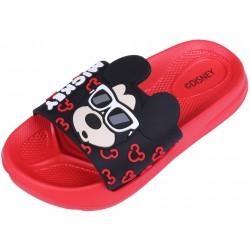 Czerwono- czarne klapki chłopięce Myszka MICKEY
