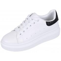 Białe sneakersy z wężowym czarnym elementem VICES