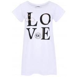 Biała koszula nocna z brokatem LOVE Harry Potter