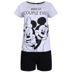 Szaro-czarna krótka piżama damska z motywem Myszki Mickey