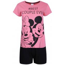 Krótka piżama damska różowo-czarna krótka z motywem Myszki Mickey