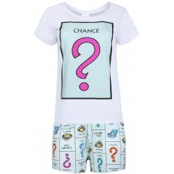 Biała krótka piżama w kolorowe wzory
