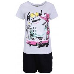 Szaro-czarna krótka piżama z nadrukiem MIAMI