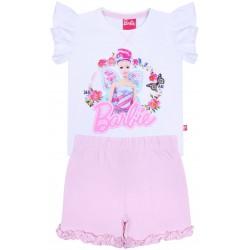 Biało-różowa piżama dziecięca z rękawkiem w formie falbanki BARBIE