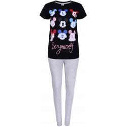 Szaro-czarna piżama na krótki rękaw Myszka Mickey DISNEY