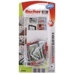 Kołek uniwersalny Fischer DUOPOWER  6X30 WH K NV z hakiem prostym