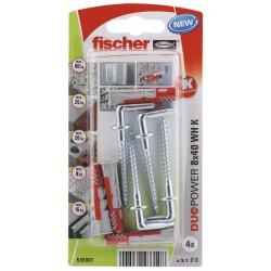 Kołek uniwersalny Fischer DUOPOWER  8X40 WH K NV z hakiem prostym