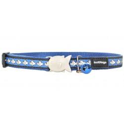 Niebieska obroża dla kota z odblaskiem idzwoneczkiem 12mm
