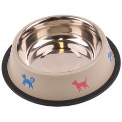 Metalowa miska na gumie w kolorze beżowym dla psa 0,71l