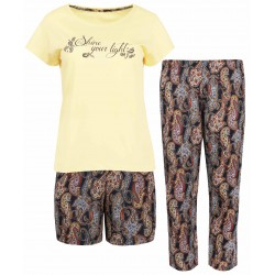 Trzy elementowa, bawełniana piżama ze wzorzystymi spodenkami CORNETTE