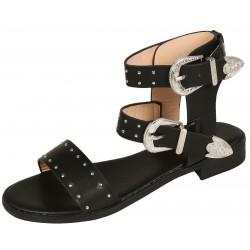 Damskie sandały ala glawiatorki ze srebrnymi klamrami VICES