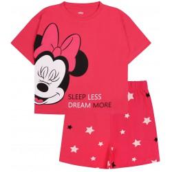 Różowa piżama z krótkimi spodenkami i motywem Myszki Minnie