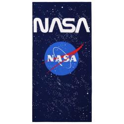 Granatowo- niebieski ręcznik ze wzorem NASA