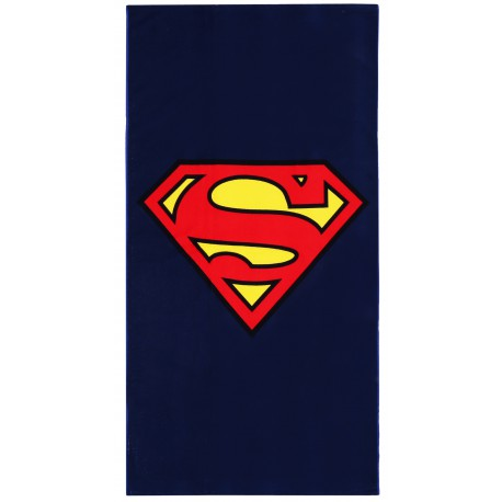 Granatowy ręcznik z czerwono- żółtym wzorem SUPERMAN
