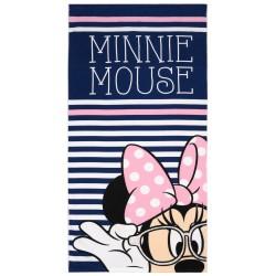 Granatowo- różowy ręcznik plażowy z Myszką Minnie