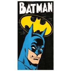 Czarno- żółty ręcznik z wizerunkiem Batmana, posiada certyfikat OEKO-TEX