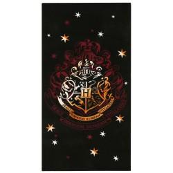 Czarny ręcznik z herbem Hogwartu z Harrego Pottera