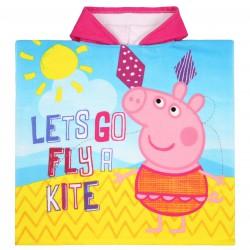 Ponczo- ręcznik z barwnymi wzorami i różowym kapturem Świnka Peppa