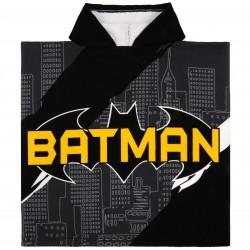 Ponczo- ręcznik z szaro żółtymi grafikami Batman, posiada certyfikat OEKO-TEX