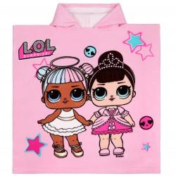 Różowe ponczo/ ręcznik z kapturem i kolorowym wzorem laleczek LOL SURPRISE
