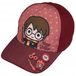 Burgundowa czapka z daszkiem i modnym wzorem Harry Potter