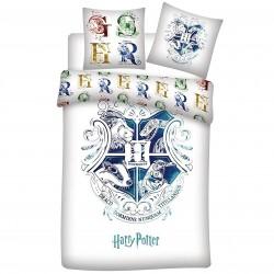 Biały komplet pościeli z niebieskim herbem Hogwartu HARRY POTTER, certyfikat OEKO-TEX