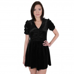 Czarna welurowa sukienka z marszczeniami JOHN ZACK