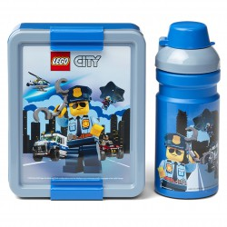 Niebieski zestaw lunch box i bidon LEGO CITY