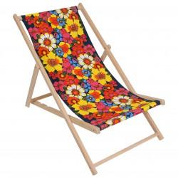 Składany, drewniany leżak plażowy z tkaniną w kwiaty BAHAMA