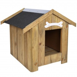 Drewniana, ocieplana buda dla psa 80 x 60 x 80