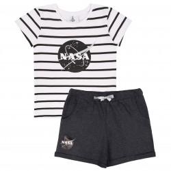 Letni, szaro-biały komplet w paski dla dziewczynki NASA